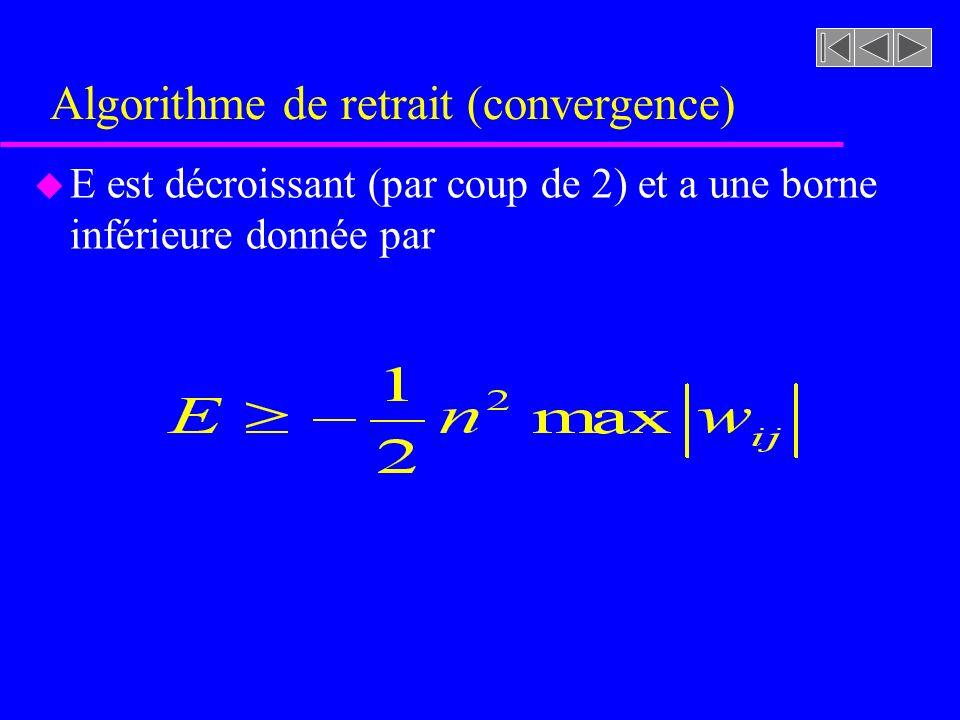 Algorithme de retrait (convergence) u E est décroissant (par coup de 2) et a une borne inférieure donnée par