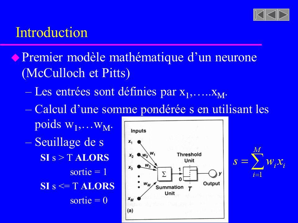 Introduction u Premier modèle mathématique dun neurone (McCulloch et Pitts) –Les entrées sont définies par x 1,…..x M. –Calcul dune somme pondérée s e