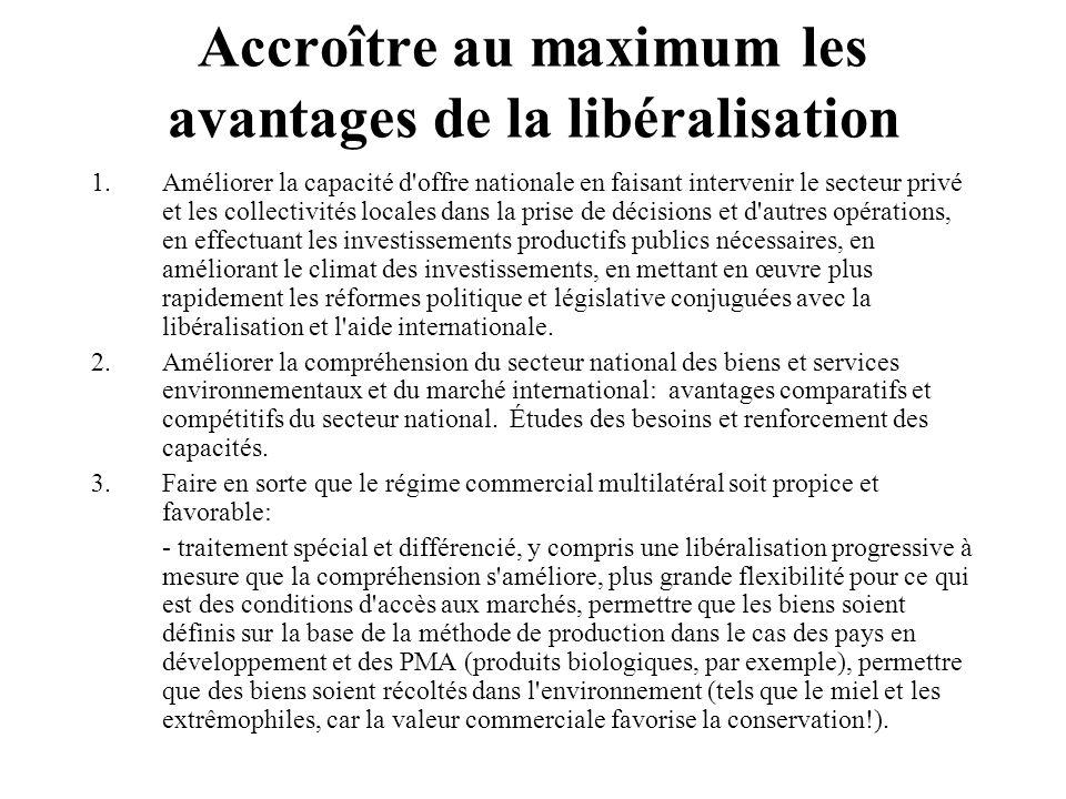 Accroître au maximum les avantages de la libéralisation 1.Améliorer la capacité d'offre nationale en faisant intervenir le secteur privé et les collec