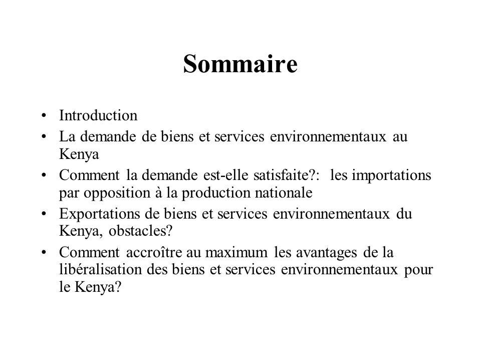 Sommaire Introduction La demande de biens et services environnementaux au Kenya Comment la demande est-elle satisfaite?: les importations par oppositi