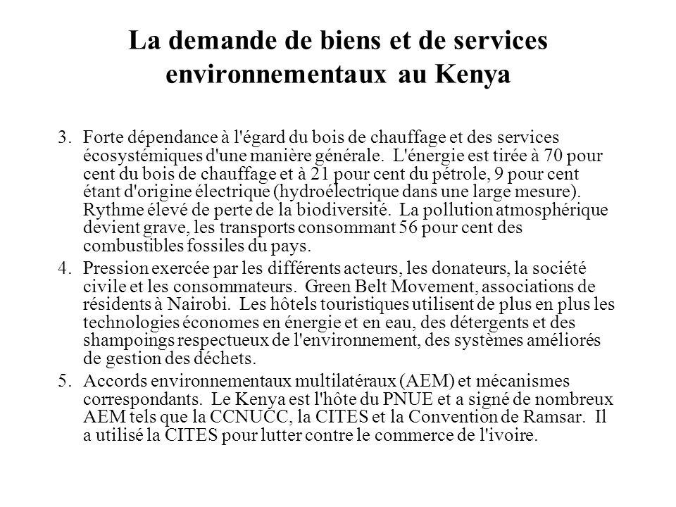 La demande de biens et de services environnementaux au Kenya 3.Forte dépendance à l égard du bois de chauffage et des services écosystémiques d une manière générale.