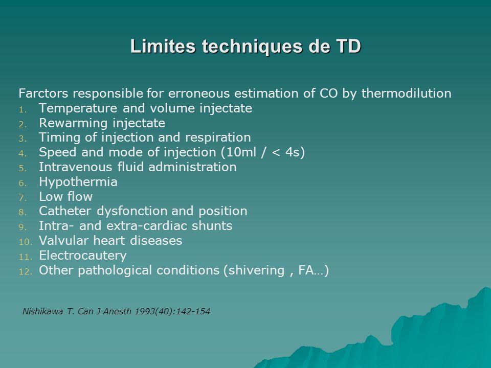 Limites techniques de TD Farctors responsible for erroneous estimation of CO by thermodilution 1. 1. Temperature and volume injectate 2. 2. Rewarming