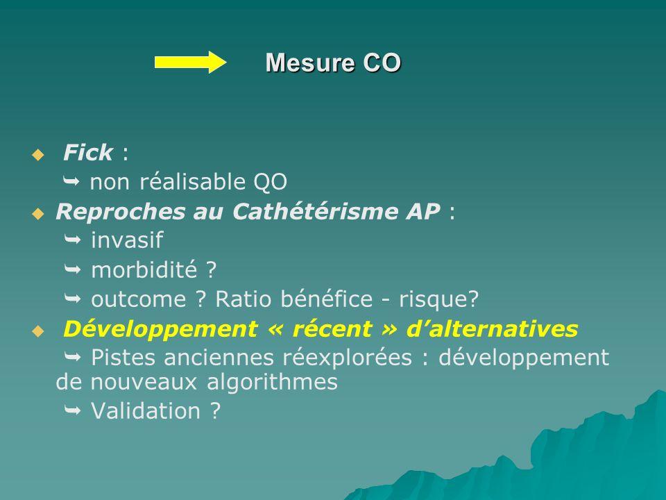 Mesure CO Fick : non réalisable QO Reproches au Cathétérisme AP : invasif morbidité ? outcome ? Ratio bénéfice - risque? Développement « récent » dalt