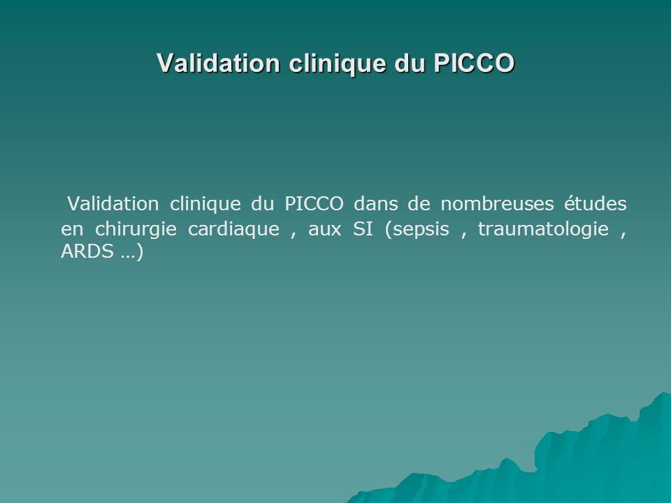 Validation clinique du PICCO Validation clinique du PICCO dans de nombreuses études en chirurgie cardiaque, aux SI (sepsis, traumatologie, ARDS …)