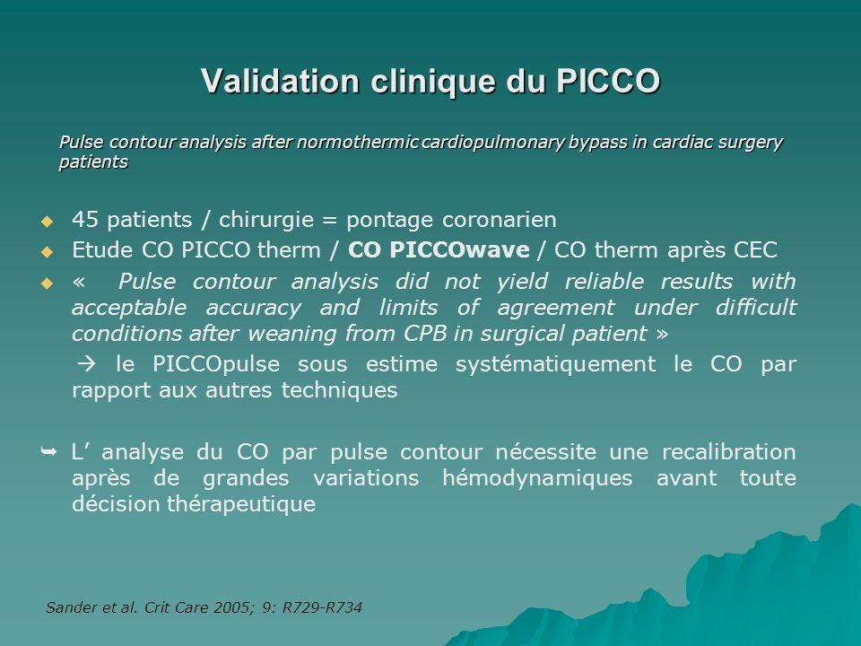 Sander et al. Crit Care 2005; 9: R729-R734 Validation clinique du PICCO 45 patients / chirurgie = pontage coronarien Etude CO PICCO therm / CO PICCOwa