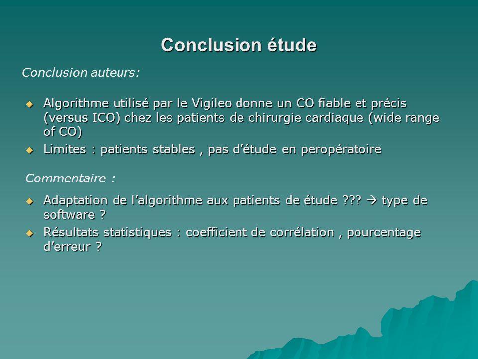 Conclusion étude Algorithme utilisé par le Vigileo donne un CO fiable et précis (versus ICO) chez les patients de chirurgie cardiaque (wide range of C
