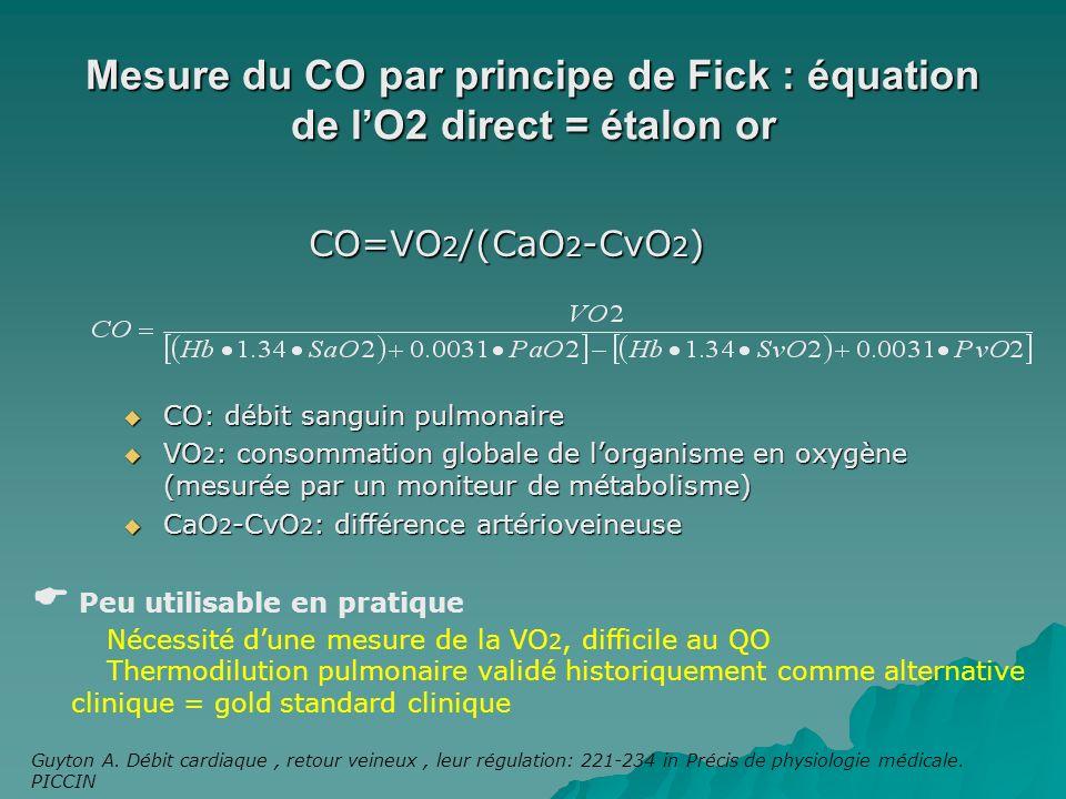 Mesure du CO par principe de Fick : équation de lO2 direct = étalon or CO=VO 2 /(CaO 2 -CvO 2 ) CO: débit sanguin pulmonaire CO: débit sanguin pulmona