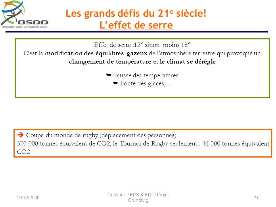 Les grands défis du 21 e siècle! Leffet de serre Effet de serre :15° sinon moins 18° Cest la modification des équilibres gazeux de l'atmosphère terres