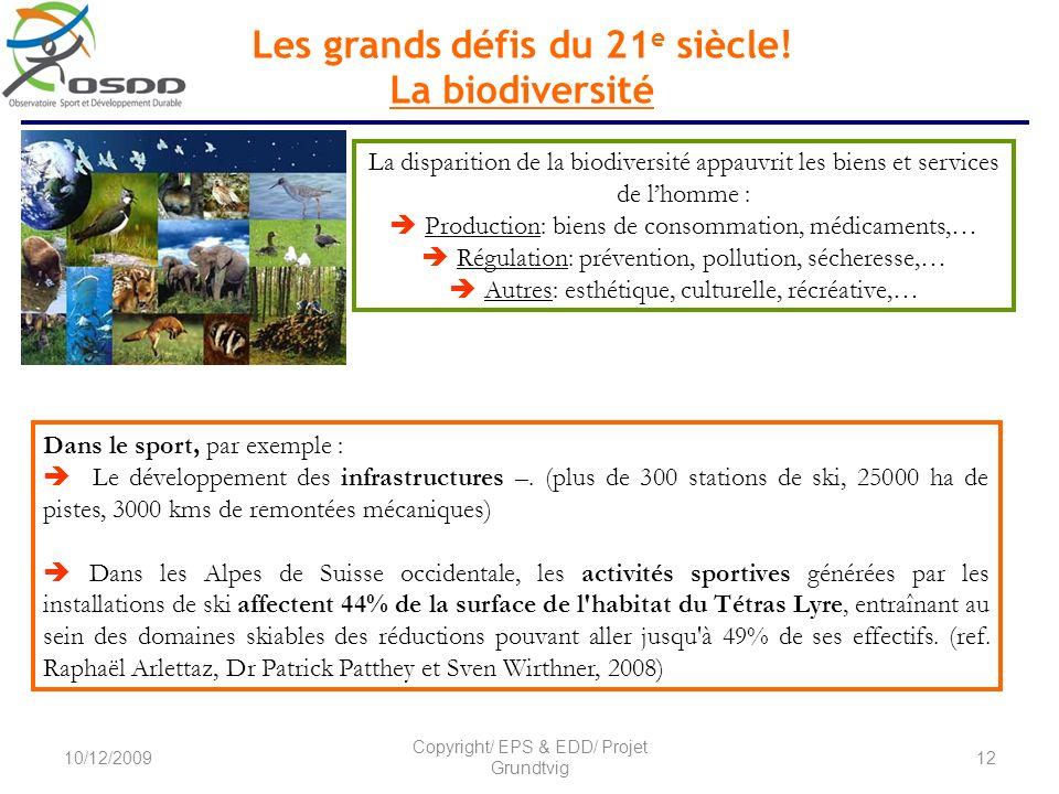 Les grands défis du 21 e siècle! La biodiversité La disparition de la biodiversité appauvrit les biens et services de lhomme : Production: biens de co