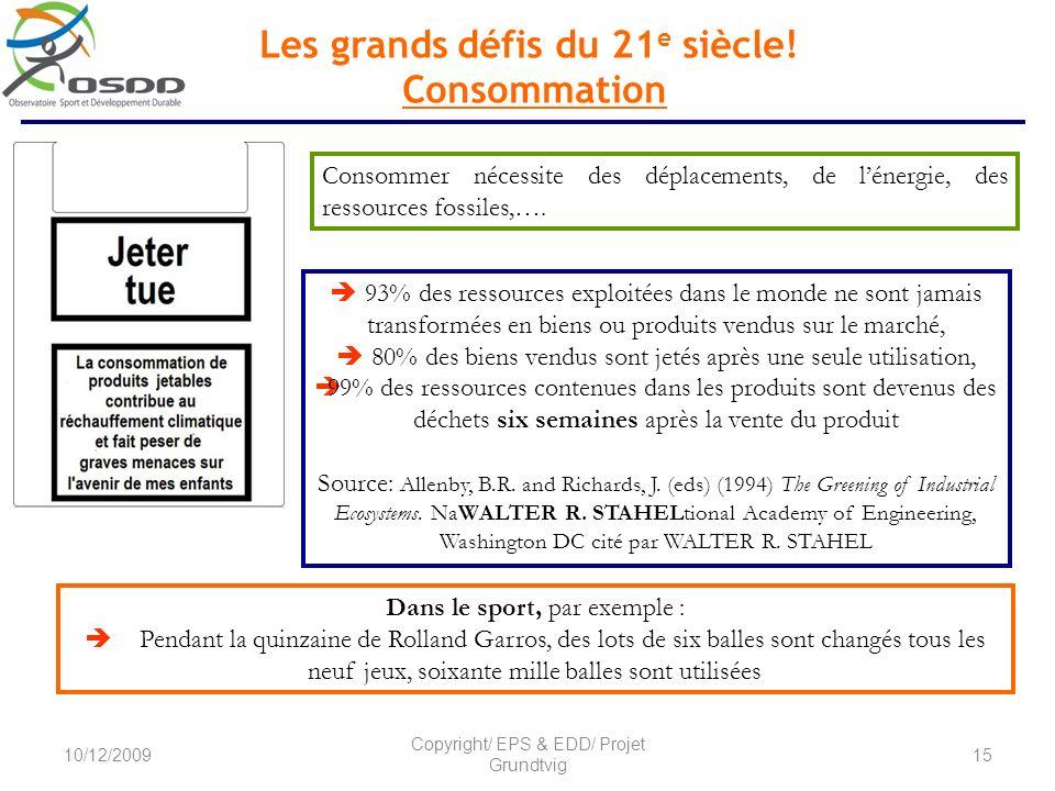 Les grands défis du 21 e siècle! Consommation Dans le sport, par exemple : Pendant la quinzaine de Rolland Garros, des lots de six balles sont changés