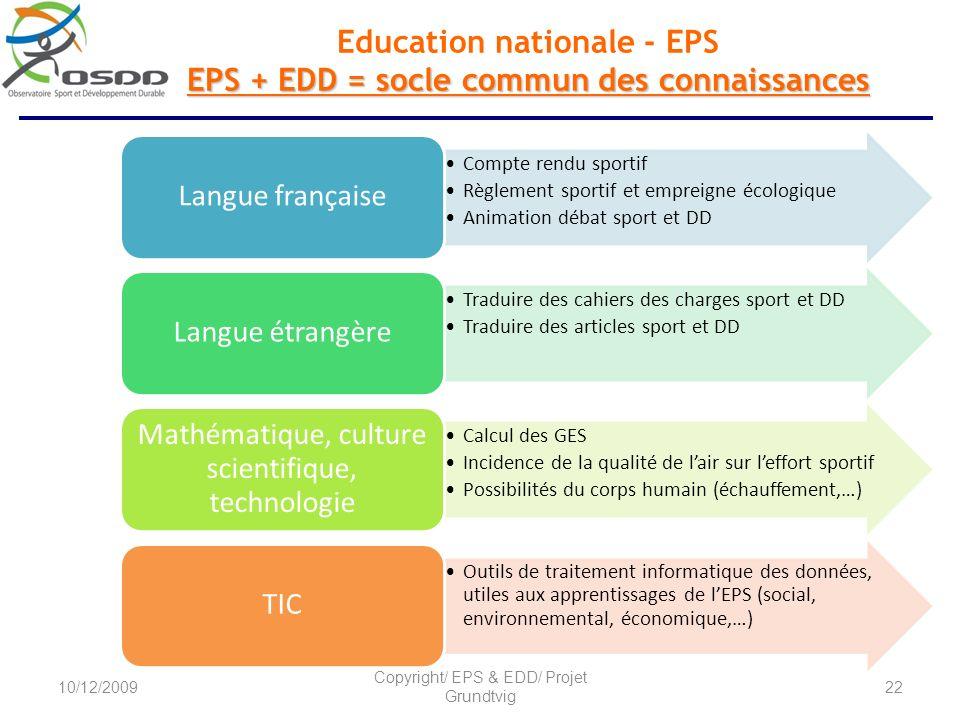 EPS + EDD = socle commun des connaissances Education nationale - EPS EPS + EDD = socle commun des connaissances Compte rendu sportif Règlement sportif