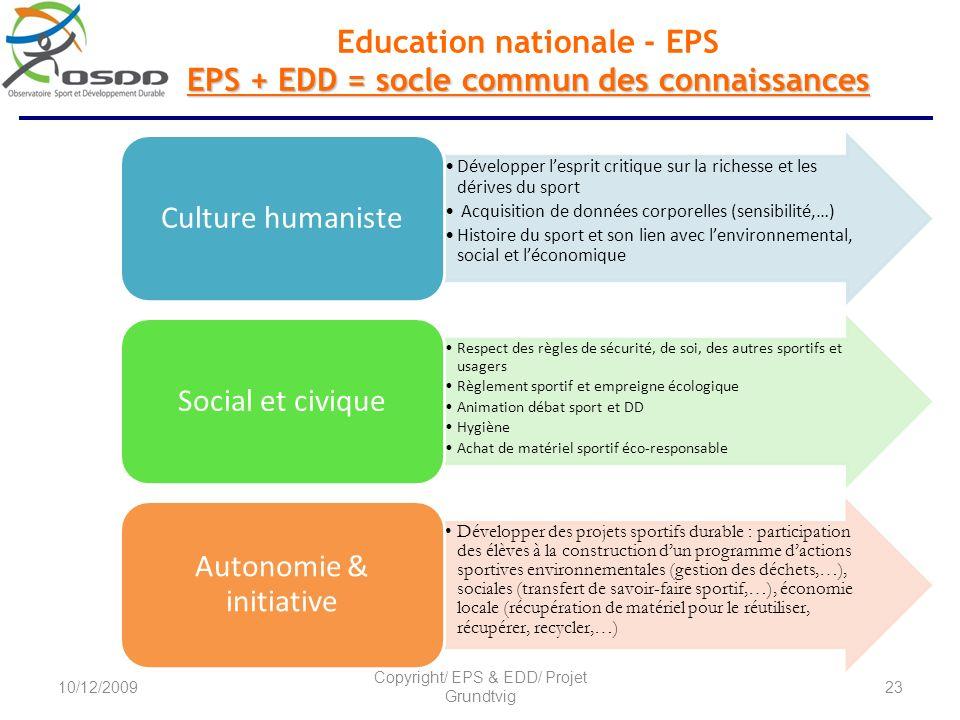 EPS + EDD = socle commun des connaissances Education nationale - EPS EPS + EDD = socle commun des connaissances Développer lesprit critique sur la ric