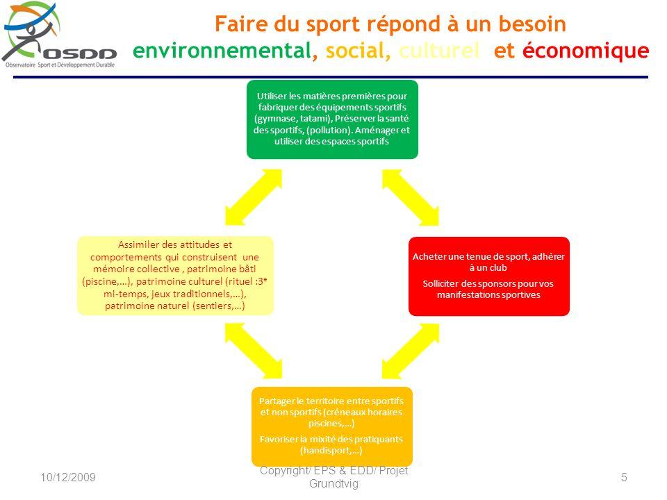 Utiliser les matières premières pour fabriquer des équipements sportifs (gymnase, tatami), Préserver la santé des sportifs, (pollution). Aménager et u