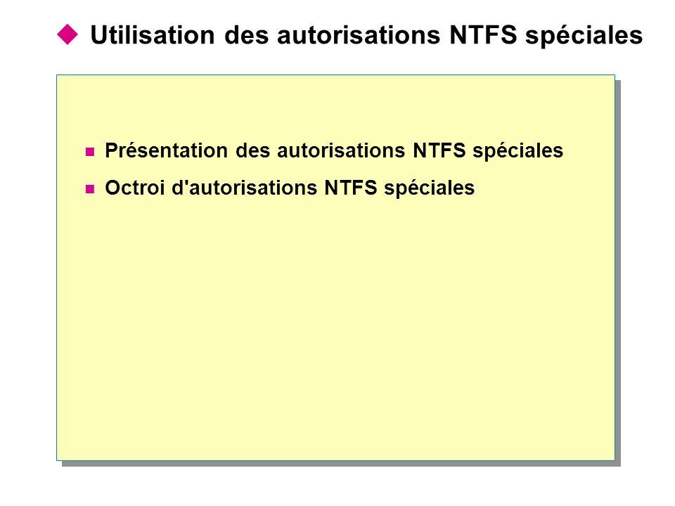 Utilisation des autorisations NTFS spéciales Présentation des autorisations NTFS spéciales Octroi d autorisations NTFS spéciales