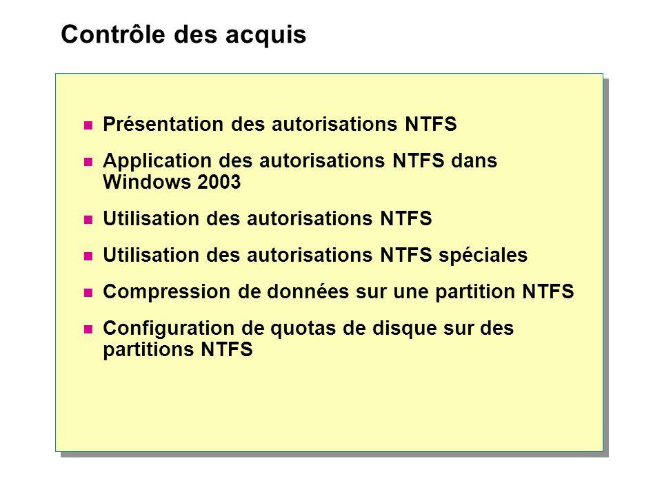Contrôle des acquis Présentation des autorisations NTFS Application des autorisations NTFS dans Windows 2003 Utilisation des autorisations NTFS Utilisation des autorisations NTFS spéciales Compression de données sur une partition NTFS Configuration de quotas de disque sur des partitions NTFS