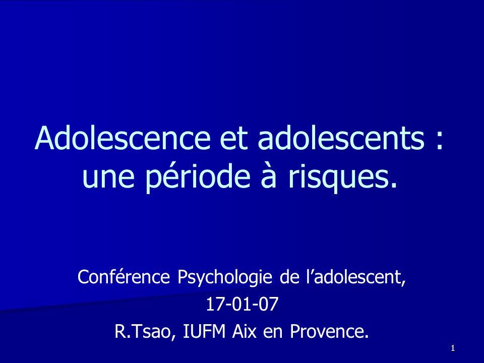 1 Adolescence et adolescents : une période à risques. Conférence Psychologie de ladolescent, 17-01-07 R.Tsao, IUFM Aix en Provence.