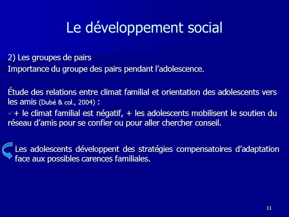11 Le développement social 2) Les groupes de pairs Importance du groupe des pairs pendant ladolescence. Étude des relations entre climat familial et o