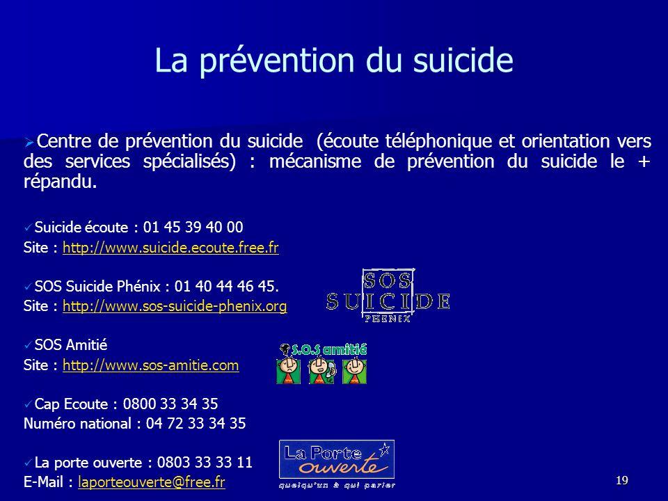 19 La prévention du suicide Centre de prévention du suicide (écoute téléphonique et orientation vers des services spécialisés) : mécanisme de préventi