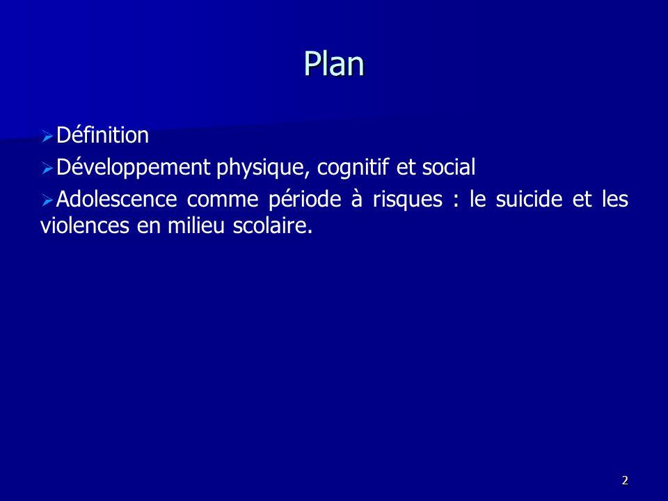 3 Définition 3 tâches développementales : modifications que doivent affronter tous les ado.