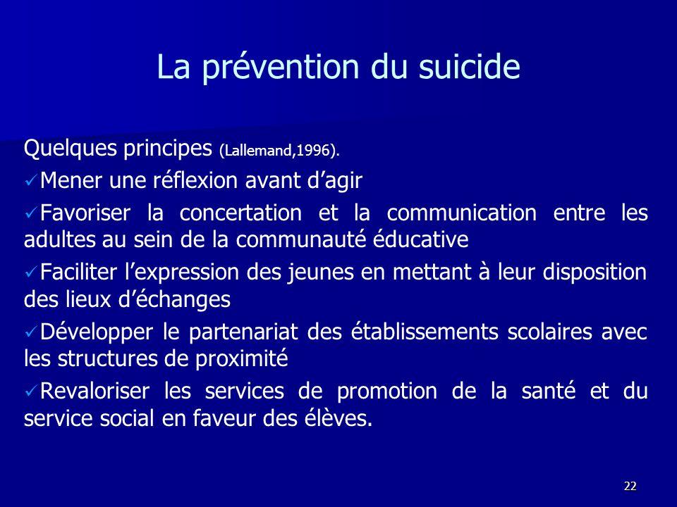 22 La prévention du suicide Quelques principes (Lallemand,1996). Mener une réflexion avant dagir Favoriser la concertation et la communication entre l