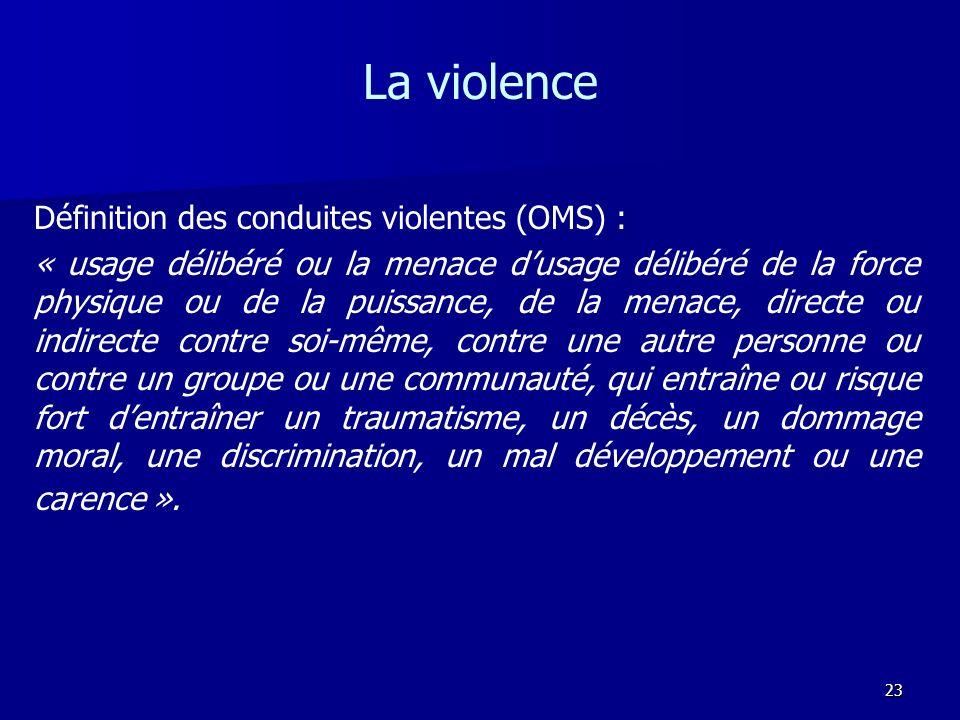 23 La violence Définition des conduites violentes (OMS) : « usage délibéré ou la menace dusage délibéré de la force physique ou de la puissance, de la