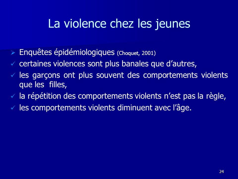 24 La violence chez les jeunes Enquêtes épidémiologiques (Choquet, 2001) certaines violences sont plus banales que dautres, les garçons ont plus souve