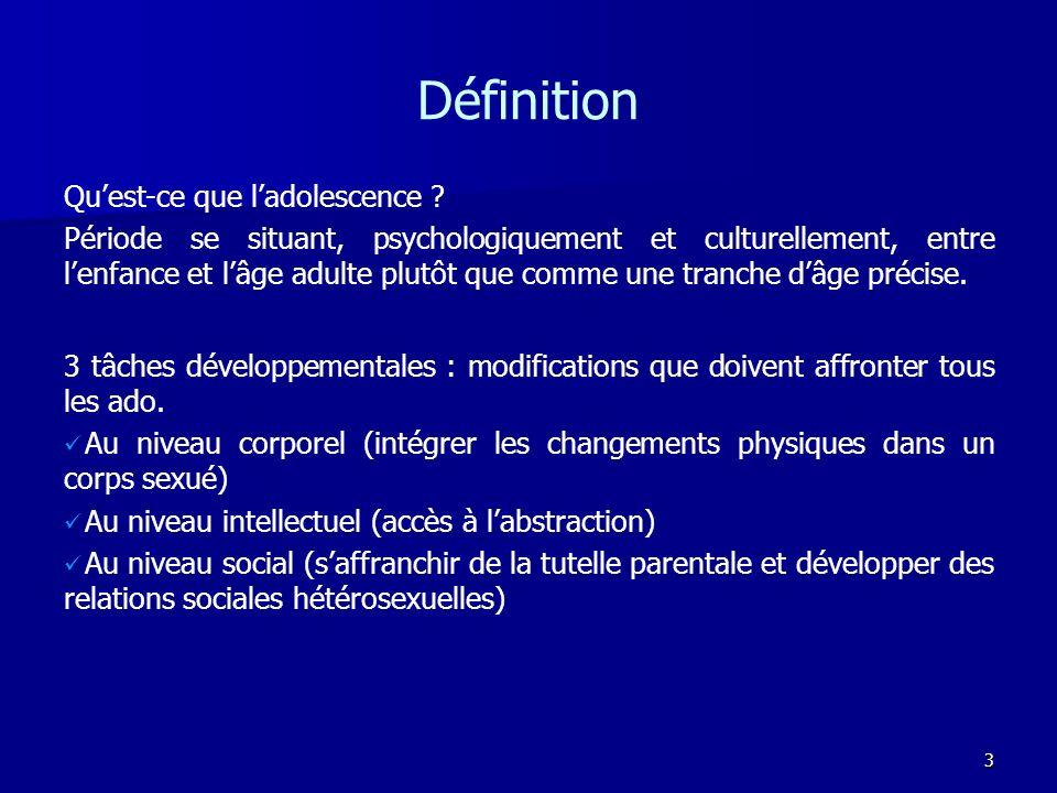 3 Définition 3 tâches développementales : modifications que doivent affronter tous les ado. Au niveau corporel (intégrer les changements physiques dan