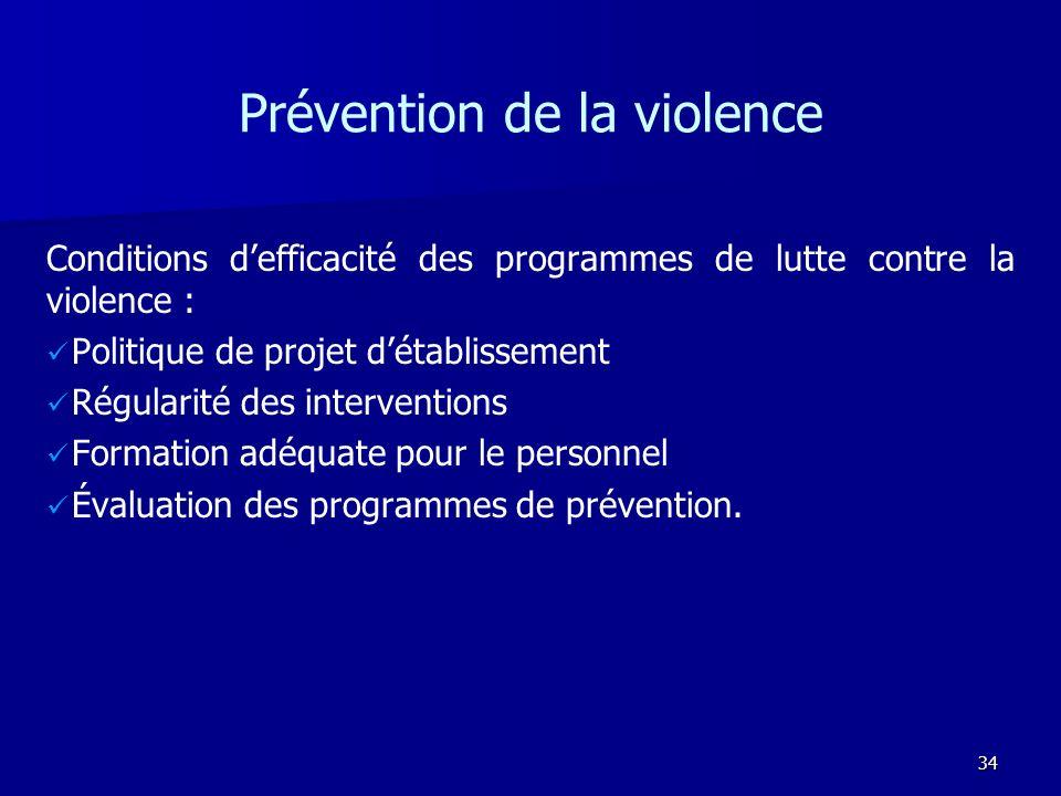 34 Prévention de la violence Conditions defficacité des programmes de lutte contre la violence : Politique de projet détablissement Régularité des int