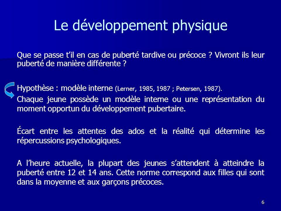 6 Le développement physique Hypothèse : modèle interne (Lerner, 1985, 1987 ; Petersen, 1987). Chaque jeune possède un modèle interne ou une représenta