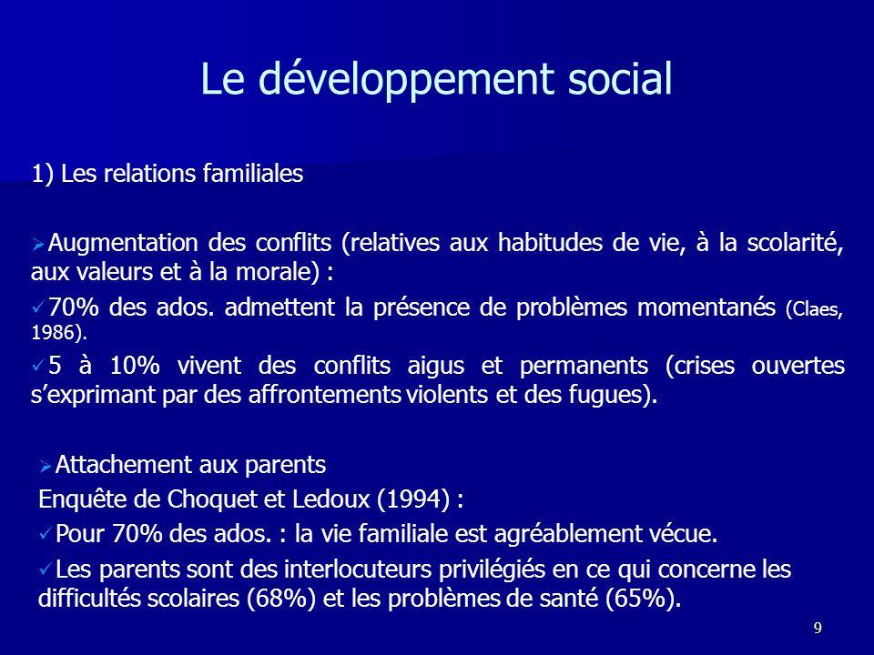 9 Le développement social 1) Les relations familiales Augmentation des conflits (relatives aux habitudes de vie, à la scolarité, aux valeurs et à la m