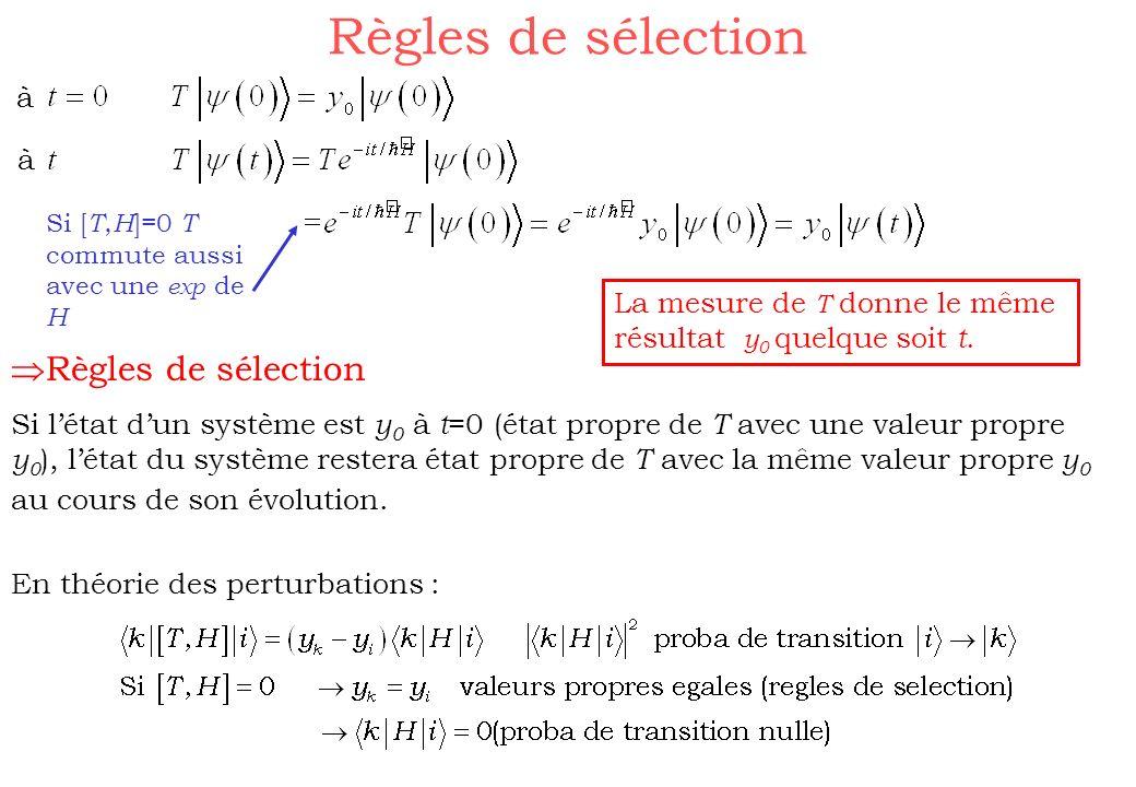 Règles de sélection Si [ T, H ]=0 T commute aussi avec une exp de H Règles de sélection Si létat dun système est y 0 à t =0 (état propre de T avec une