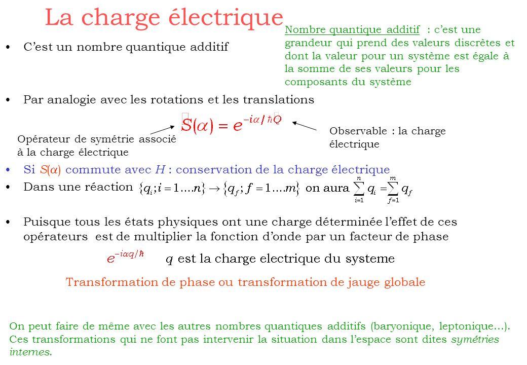 La charge électrique Cest un nombre quantique additif Par analogie avec les rotations et les translations Si S ( ) commute avec H : conservation de la