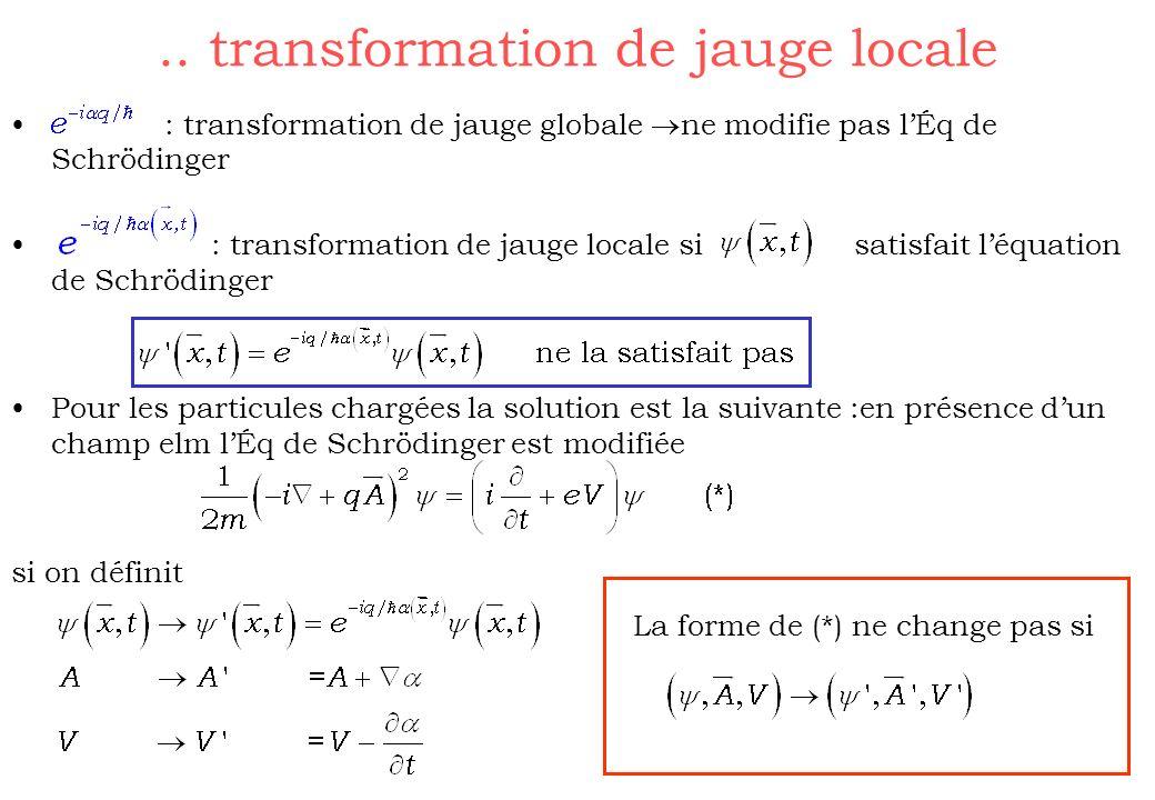 .. transformation de jauge locale : transformation de jauge globale ne modifie pas lÉq de Schrödinger : transformation de jauge locale si satisfait lé