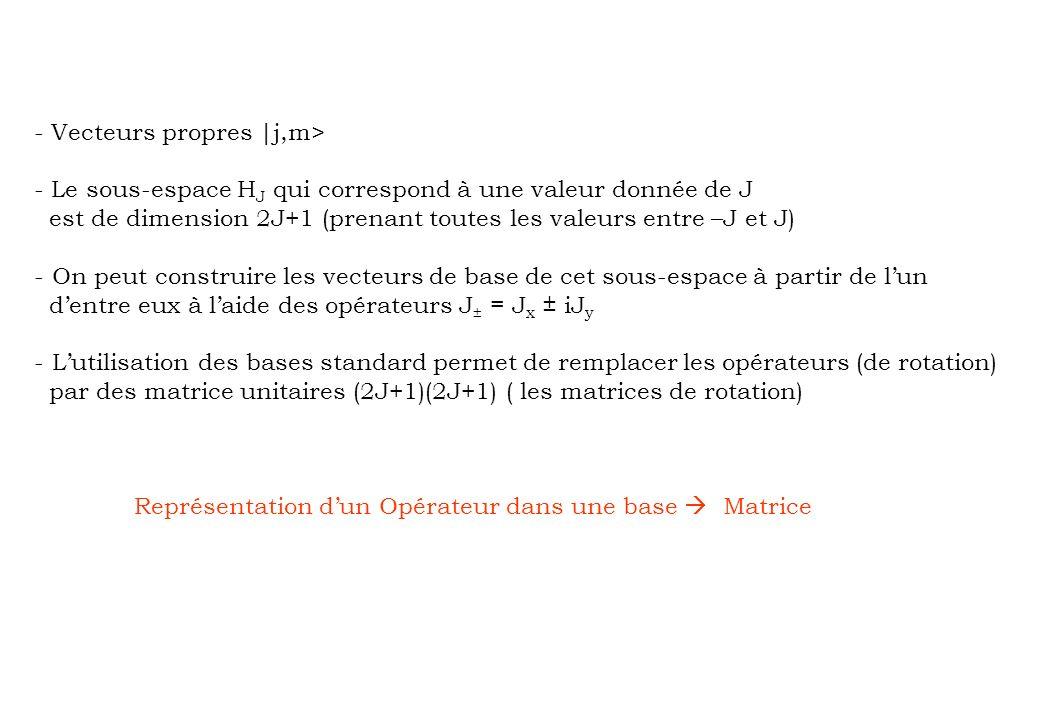 - Vecteurs propres |j,m> - Le sous-espace H J qui correspond à une valeur donnée de J est de dimension 2J+1 (prenant toutes les valeurs entre –J et J)