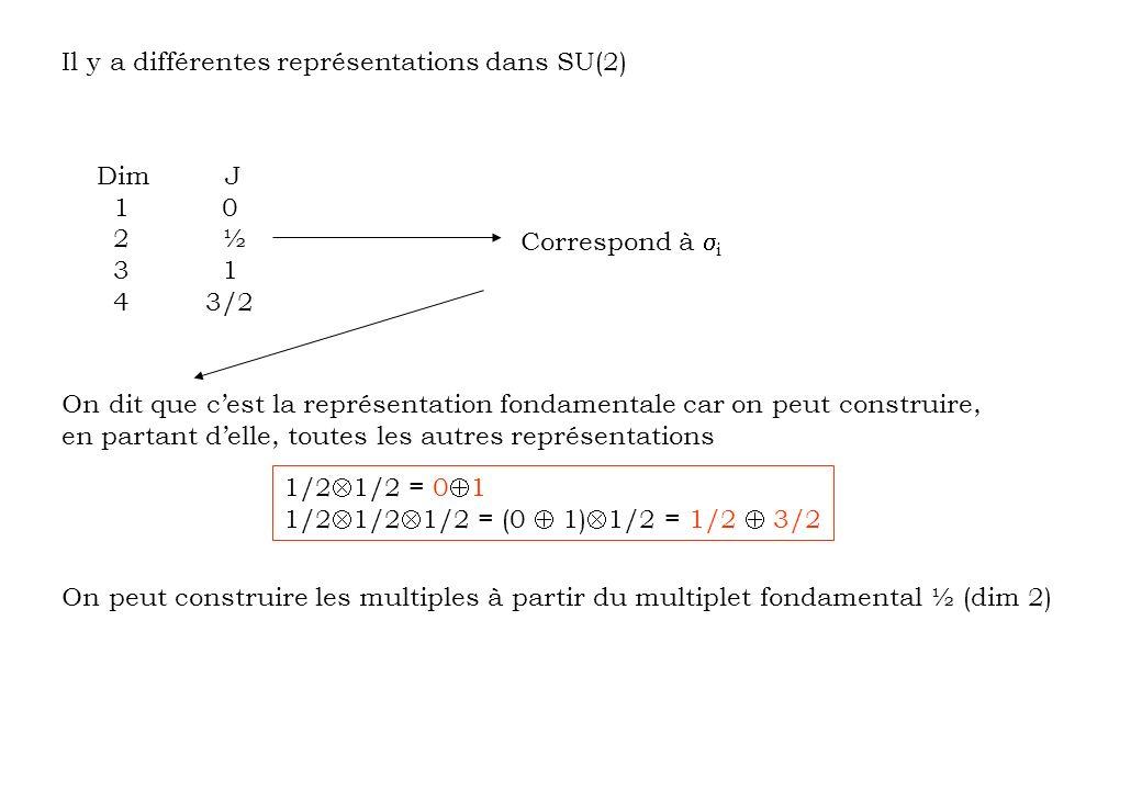 Il y a différentes représentations dans SU(2) Dim J 1 0 2 ½ 3 1 4 3/2 Correspond à i On dit que cest la représentation fondamentale car on peut constr