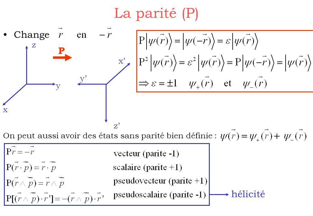 La parité (P) Change z x y z x y P On peut aussi avoir des états sans parité bien définie : hélicité