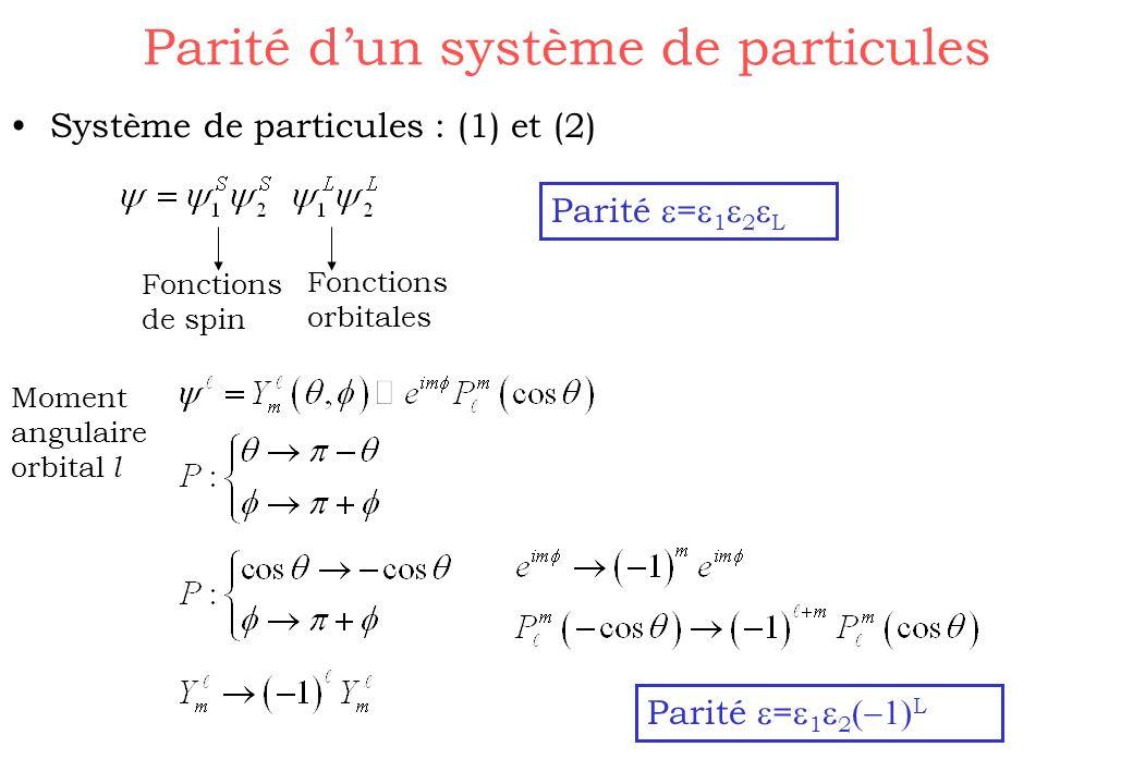 Parité dun système de particules Système de particules : (1) et (2) Fonctions de spin Fonctions orbitales Parité = 1 2 L Moment angulaire orbital l Pa