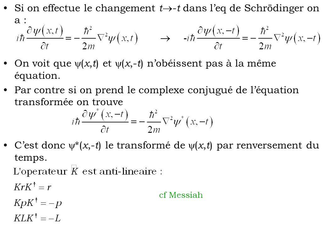 Si on effectue le changement t - t dans leq de Schrödinger on a : On voit que ( x, t ) et ( x,- t ) nobéissent pas à la même équation. Par contre si o