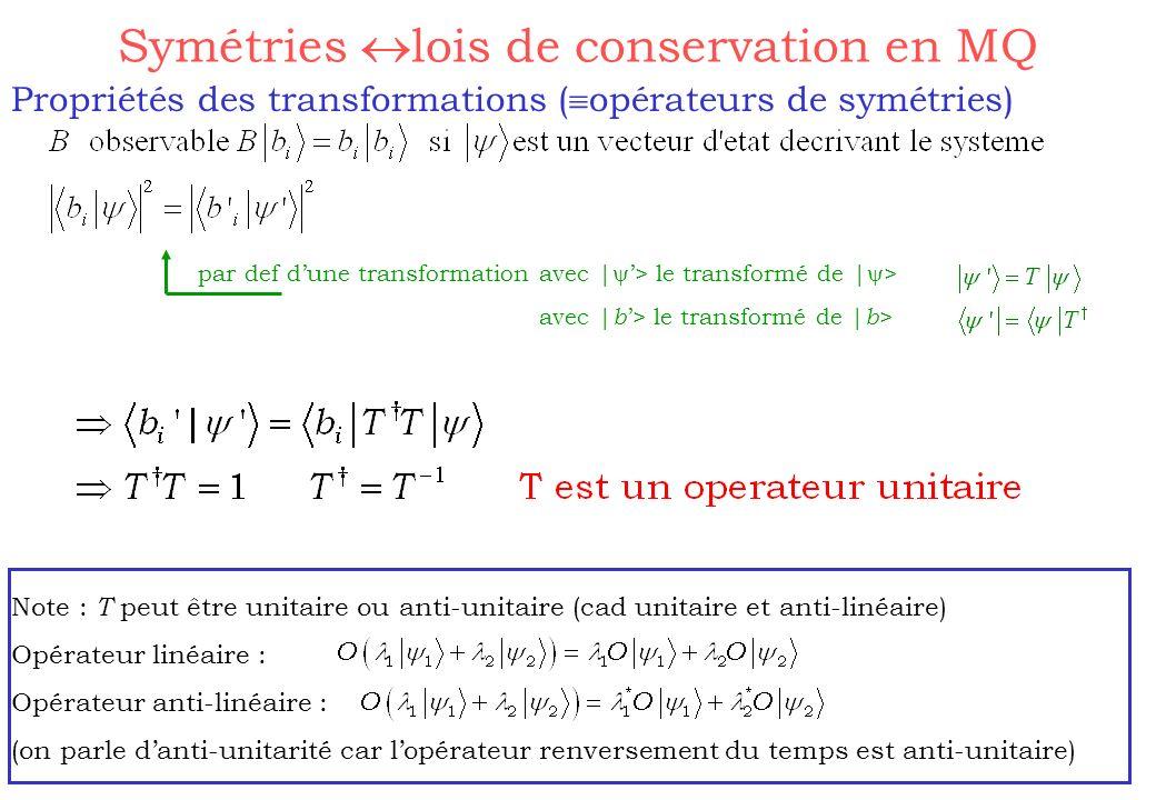 Propriétés des transformations ( opérateurs de symétries) Symétries lois de conservation en MQ par def dune transformation avec | > le transformé de |