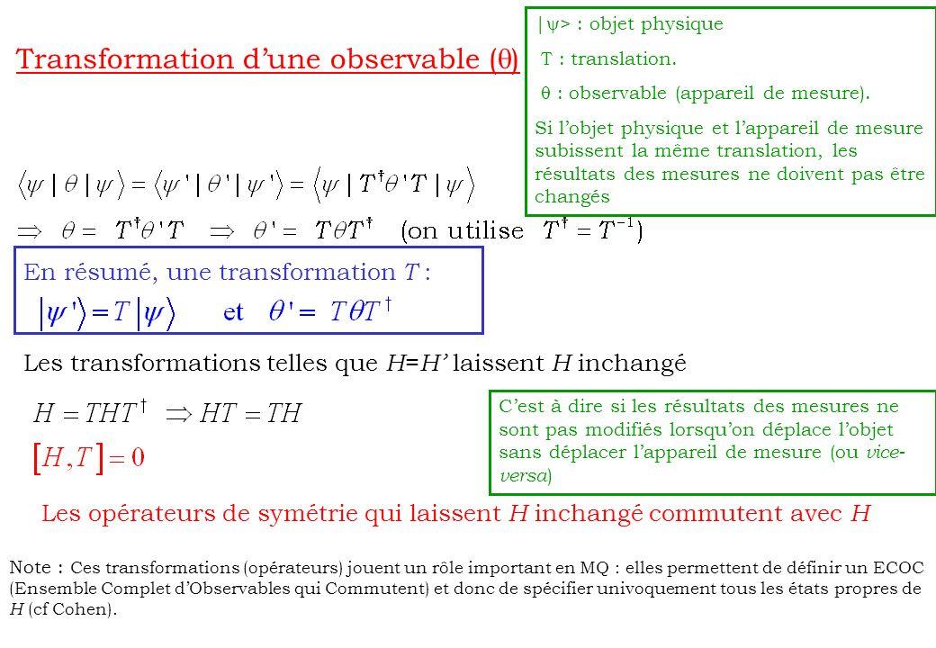 Transformation dune observable ( ) En résumé, une transformation T : Les transformations telles que H = H laissent H inchangé Les opérateurs de symétr
