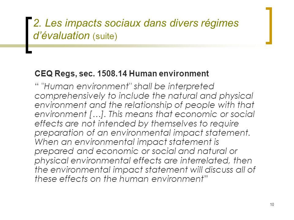 10 CEQ Regs, sec. 1508.14 Human environment