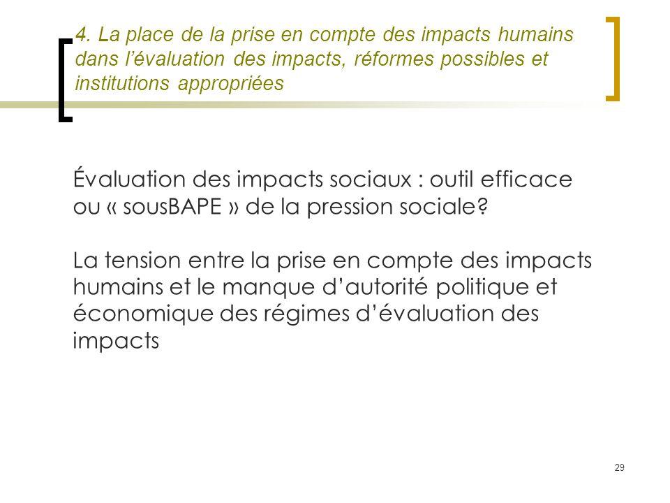 29 4. La place de la prise en compte des impacts humains dans lévaluation des impacts, réformes possibles et institutions appropriées Évaluation des i