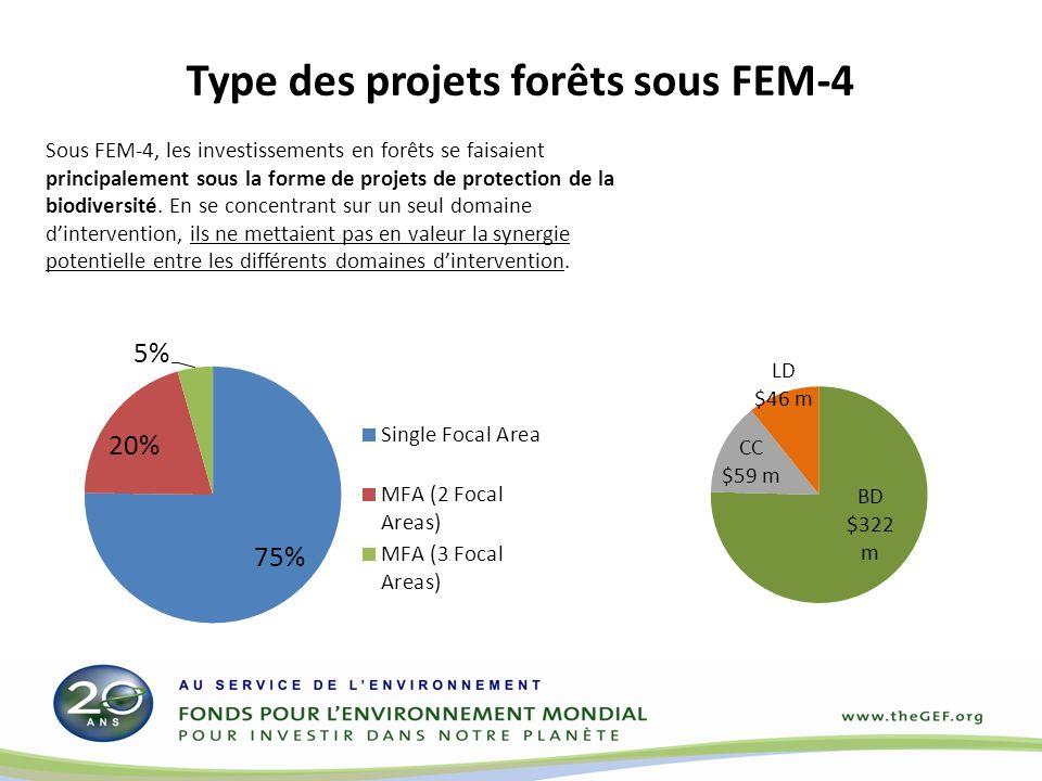 Sous FEM-4, les investissements en forêts se faisaient principalement sous la forme de projets de protection de la biodiversité. En se concentrant sur