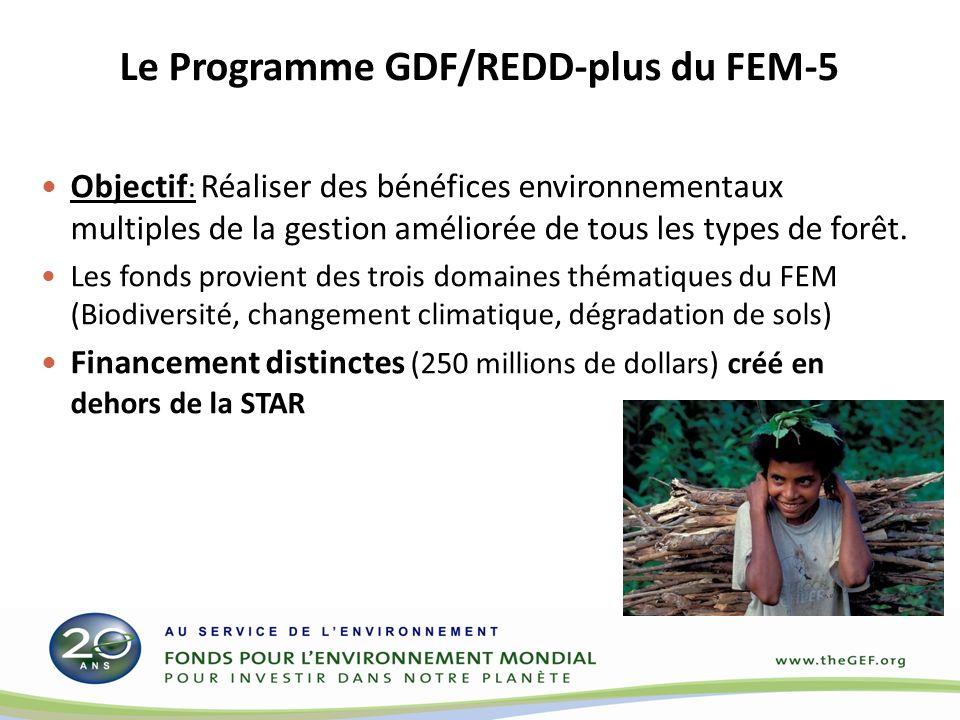 Le Programme GDF/REDD-plus du FEM-5 Objectif : Réaliser des bénéfices environnementaux multiples de la gestion améliorée de tous les types de forêt. L