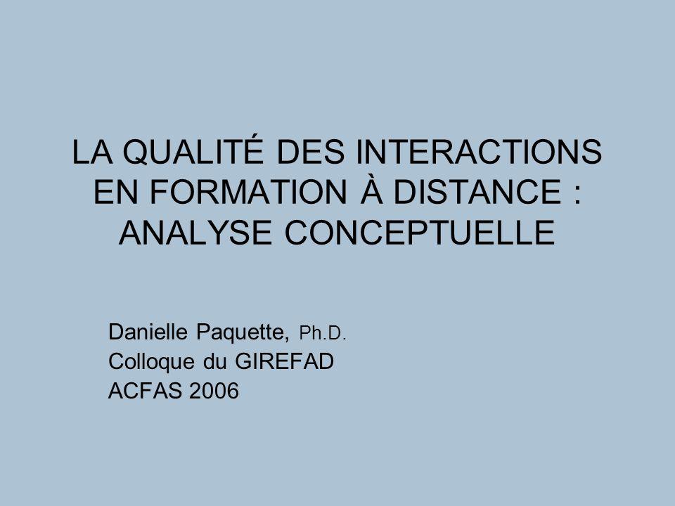 LA QUALITÉ DES INTERACTIONS EN FORMATION À DISTANCE : ANALYSE CONCEPTUELLE Danielle Paquette, Ph.D.