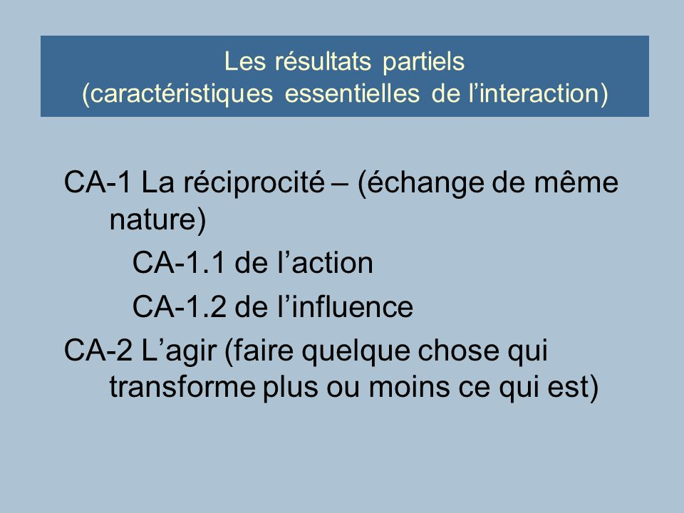Les résultats partiels (caractéristiques essentielles de linteraction) CA-1 La réciprocité – (échange de même nature) CA-1.1 de laction CA-1.2 de linfluence CA-2 Lagir (faire quelque chose qui transforme plus ou moins ce qui est)