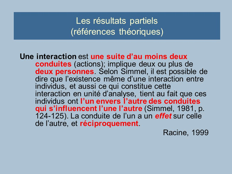 Les résultats partiels (références théoriques) Une interaction est une suite dau moins deux conduites (actions); implique deux ou plus de deux personnes.