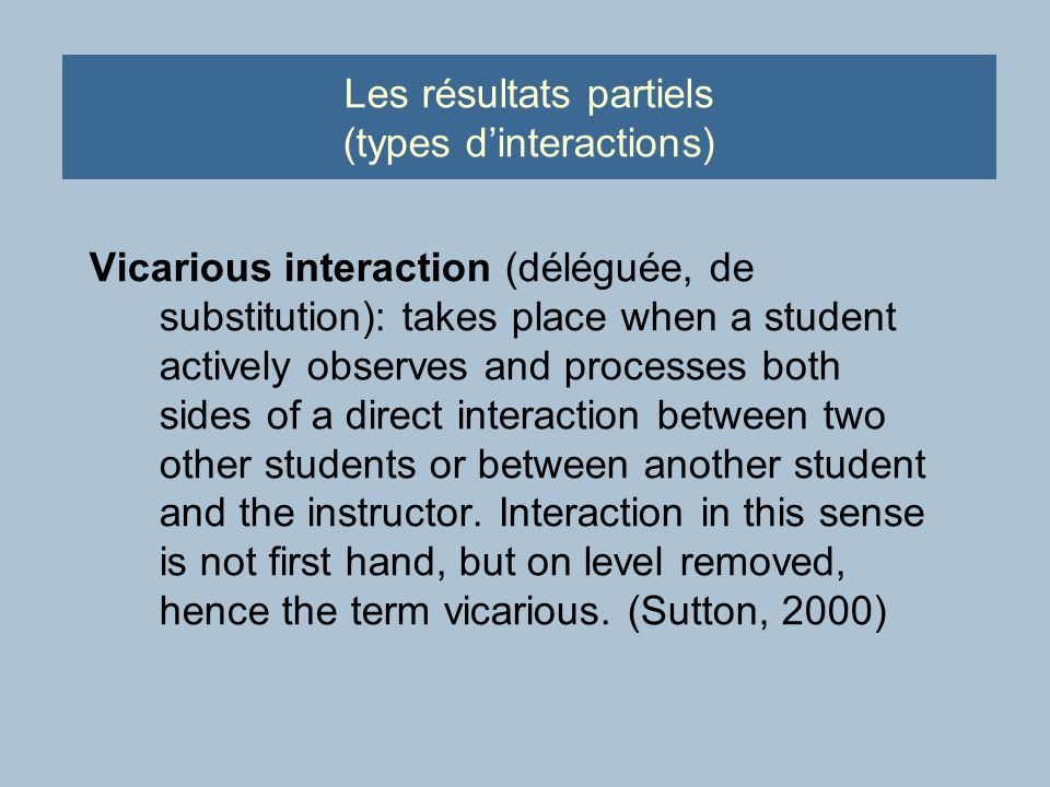 Les résultats partiels (types dinteractions) Vicarious interaction (déléguée, de substitution): takes place when a student actively observes and proce