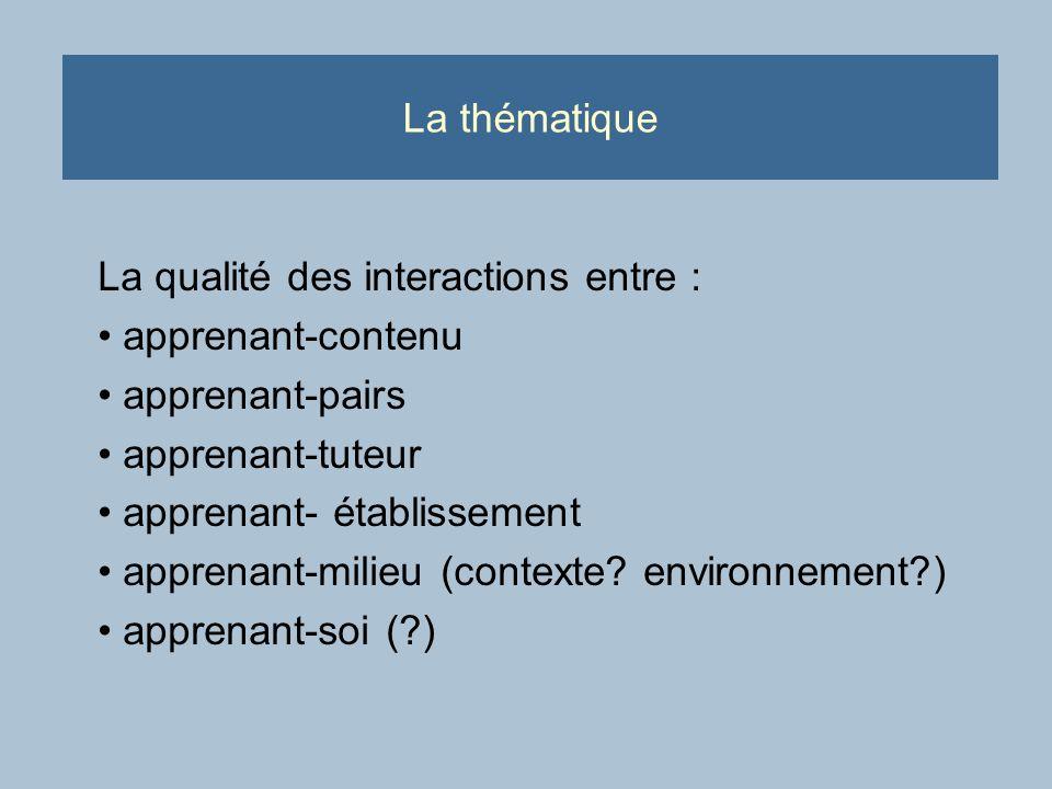 La thématique La qualité des interactions entre : apprenant-contenu apprenant-pairs apprenant-tuteur apprenant- établissement apprenant-milieu (contexte.