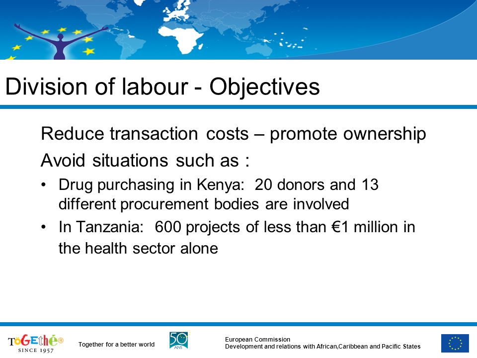European Commission Development and relations with African,Caribbean and Pacific States Together for a better world Division of labour - Objectives Reduce transaction costs – promote ownership Avoid situations such as : Drug purchasing in Kenya: 20 donors and 13 different procurement bodies are involved In Tanzania: 600 projects of less than 1 million in the health sector alone